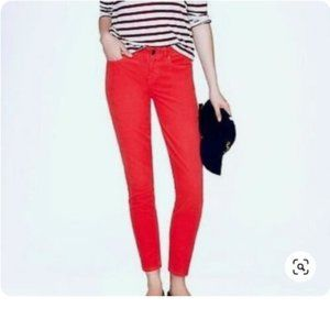 J Crew red toothpick jeans size 25 regular